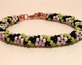 Kumihimo Flower Bracelet, Kumihimo, Beaded Bracelet, Green Pink Black & White, Copper Lobster Claw Closure