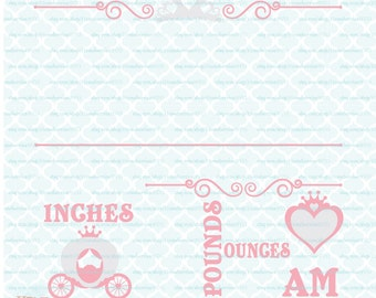 Princess Birth Announcement Statistics Template svg Baby Stats svg dxf eps jpg files for Cricut Silhouette cut files