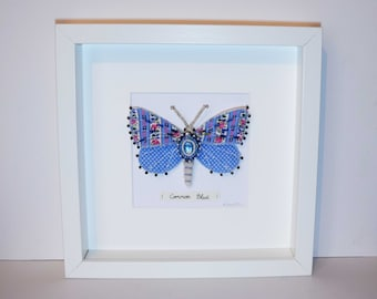 Common Blue Butterfly. Textile soft sculpture framed wall art. Faux taxidermy entomology