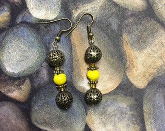 Brass and Yellow Dangle Earrings