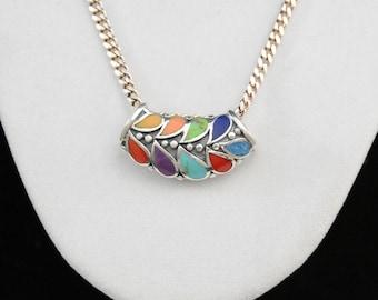 Silver Multi Stone Pendant Necklace, Sterling Necklace, Gemstone Teardrop Necklace       J977