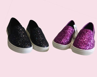 KID Girls Shoes - Glitter Slip on Back and Pink Hollie style shoes