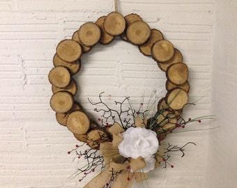 Decorated wood slice wreath
