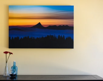 "Mount Thielsen Canvas Print 2' x 3' with 1.5"" thick wrap; mountains, sunset, clouds, night, smoke, silhouette, Oregon, Crater Lake"