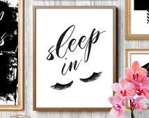 Bedroom wall decor, sleep in, let's sleep in, eyelashes print, fashion print, funny art, eyelashes art, room decor, home decor