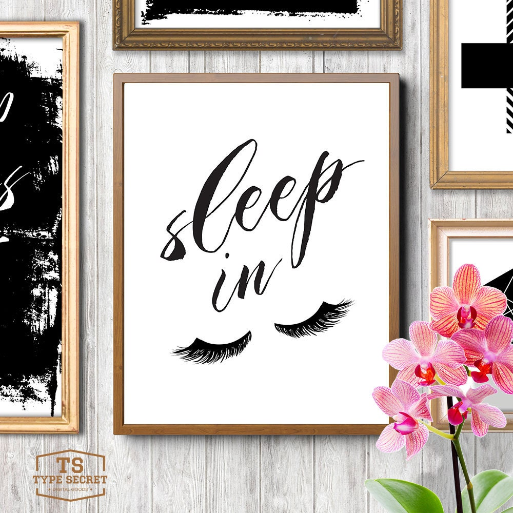 Bedroom wall decor sleep in let 39 s sleep in eyelashes Funny bedroom