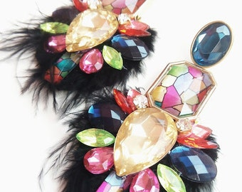 Multicolor Acrylic Crystal And Black Feather Earrings