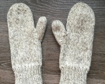 Wool Knit Mittens, Cream and Oatmeal, 100% Wool