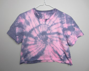 Pink/Indigo Crop Short-Sleeved Top Women's Size L