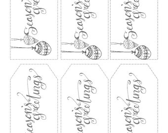 Christmas Gift Tags Printable- Seasons Greetings