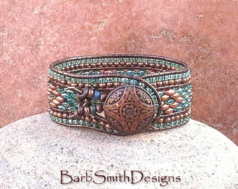 Copper Turquoise Blue Beaded Leather Wrap Cuff Bracelet - The Indian Princess in Copper n' Celsian - Custom size it!