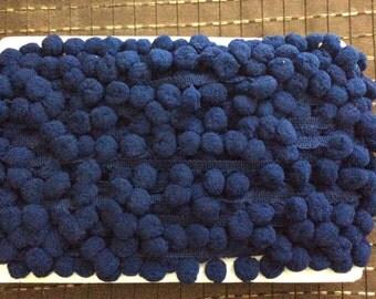 2 yards 1 inch pompom fringe navy blue