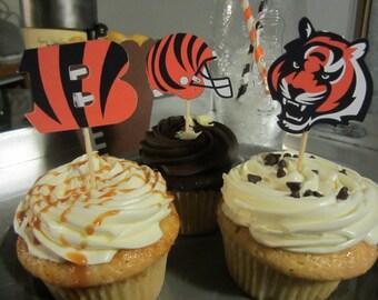 Cupcake toppers, party supplies, Cincinnati Bengals, football