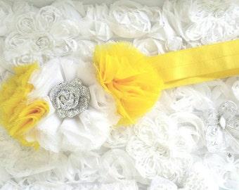 White and yellow chiffon flower headband
