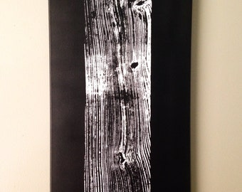 """Old Cypress Board Print on Canvas, 12""""x24"""", White on Black"""
