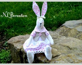 Plush rabbit fabric style Tilda in linen and cotton 35 cm