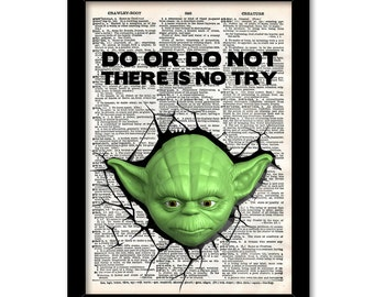 Do or do not there is no try Yoda Print, Star wars yoda print, Yoda Poster, star wars quotes, gift for brother, nursery yoda print
