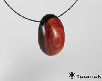 Rose and Madagascar and Gabon ebony wooden necklace