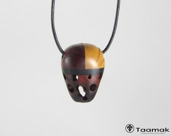 "Necklace pendant reversible ""hazelnut"" multi-essences - necklace for H/F-Wood precious-made hand-Piece unique-jewelry Taamak"
