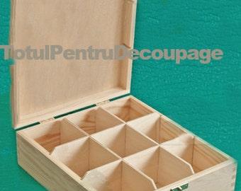 Wonderful tea wood box  for decoupage technique