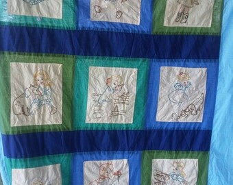 Vintage hand embroidered quilt top 43x56
