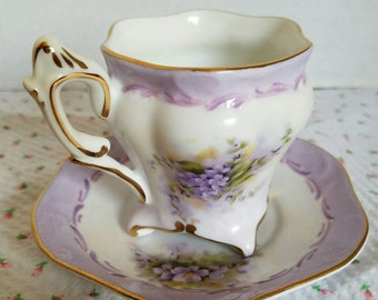 Hand Painted Lilac and Rose Footed Demitasse Teacup
