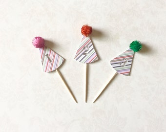 Custom Number Party Hat Toppers - Custom Number, Party Hats Toppers, Cupcake Toppers, Birthday Topper