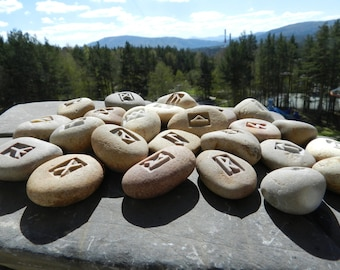 Set the Runes Stone сarving River Pebbles