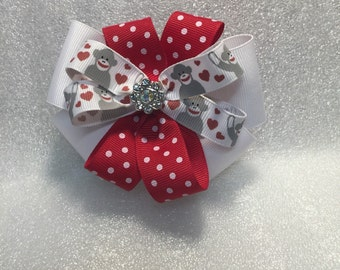 Stacked Boutique Hair Bow, Valentine's Day