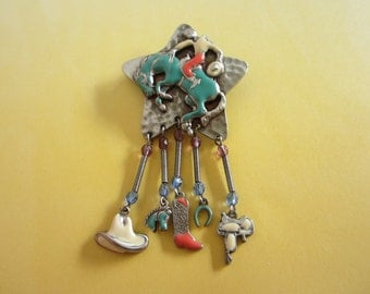 Enamel Rodeo, Cowboy Pin Brooch with Dangles