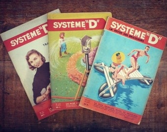 """Magazine vintage - system D - 1955 - 3 numbers """"whole system D"""" - Magazine french illustrated DIY"""