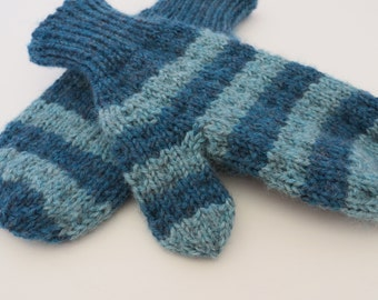 HAND KNIT Teal MITTENS / Hand Knit Mittens / Handmade Mittens / Blue Mittens / Two Tone Mittens / Striped Mittens (Mitt103)