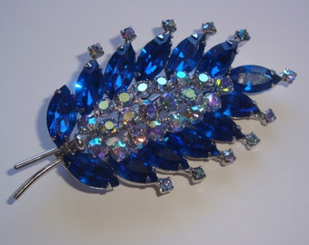Vintage Weiss Royal Blue and Crystal AB Rhinestone Brooch
