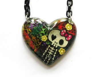 Skeleton resin necklace