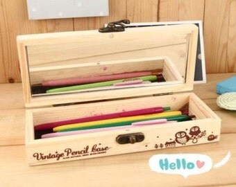 School Pencil Case Box Wooden