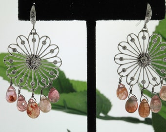 Handmade sterling silver gemstone chandelier earrings (VE356)