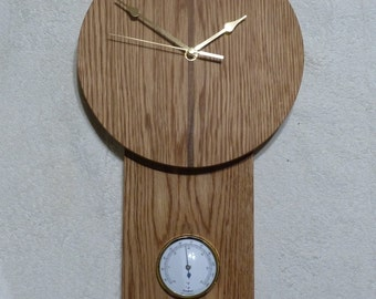 Wall Clock, Oak with Dark Walnut Inlay and Thermometer