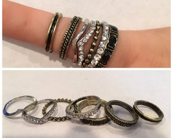 Stacking Rings- 7 piece set-Black-punk