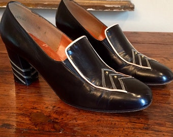 Vintage Martinigue Black Leather Shoes Size 6