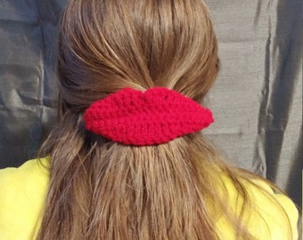 Crochet Lips Barrette