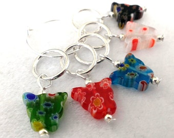 Millefiori style butterfly stitch markers - set of 5 colorful knitting stitch markers or  crochet markers