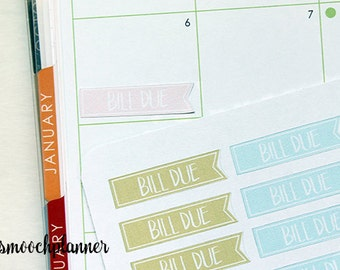Bill Due Planner Stickers, Erin Condren Life Planner, Pastel Color | #002