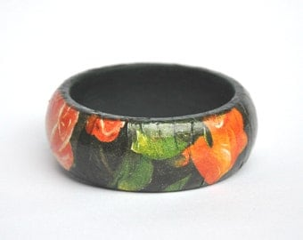 Dark Green Flowers design: Wooden Decoupage Bangle