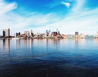 Philadelphia Skyline across the Delaware River from Camden Nj