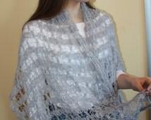 20% OFF Scarf Shawl knitted gray glitter angora wool woman warm made in Europe extra broad openwork handmade hand crochet