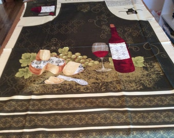 Timeless Treasure Wine and Cheese Apron Panel  fabric  by the half yard
