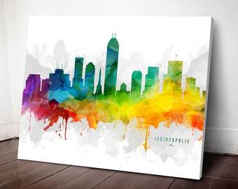 Indianapolis Skyline Canvas, Indianapolis Print, Indianapolis Art, Indianapolis Gift Idea, Indianapolis Cityscape, MMR-USININ05C