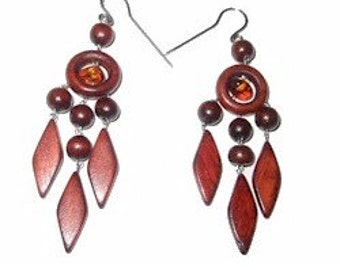 Very cute and playful wooden earrings, dangle earrings ~2 1/4in, made out of wood and amber. Great Gift!