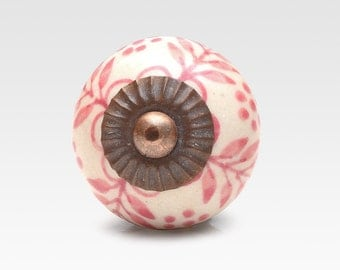 White and pink ceramic knob, hand painted, vintage