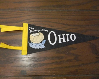 Vintage Ohio The Buckeye State Souvenir Flag